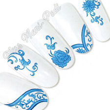 Nail Art Water Transfers Stickers Wraps Decals Blue Oriental Flowers Floral T114