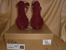 Auth Christian Louboutin Wine Red Suede Leather Orlan Peep Toe Heels Shoe 40 10