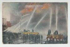 [37947] 1916 POSTCARD FIREMEN with HIGH PRESSURE in ACTION