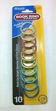 10pcs/pack bazic 1 inch metal assorted color book rings #212