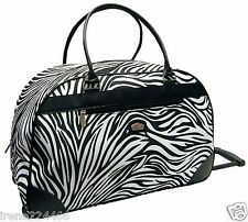 Zebra Wheeled Duffle Bag Luggage in line wheels Gloria Vanderbilt 22x14x11 NWT