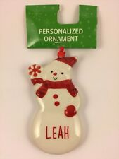 Ganz LEAH Personalized Snowman Name Christmas Ornament Ceramic Red & White NWT