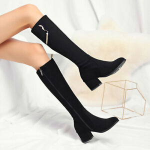 Womens Tassel Pearl Suede Block Heel RoundToe Knee High Boots Side Zipper Shoes