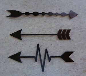 Set of 3 Arrows Plasma Cut Metal Wall Art Textured Black Finish #S2