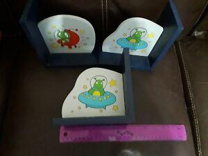 childrens alien spacecraft bookends x 3