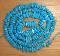 """Sleeping Beauty Turquoise Loose 4 mm x 6 mm Chip Beads Blue Color 18"""" Std # 993"""