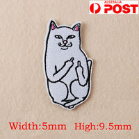 Embroidery Funny Cat Middle Finger Sew Iron On Patch Bag Clothes Applique DIY OZ