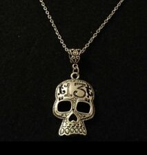"Day Of The Dead Necklace 24"" Mexican Skull Sugar Lucky 13 Gothic Rockabilly *UK*"