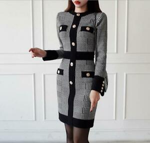 Womens Fashion Houndstooth Long Sleeve Stretched Acquard Knitted Short Dress SKG
