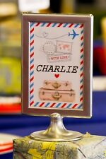 Wedding Table Signs / Names Aviation Airplane Red Blue Theme Phonetic Alphabet