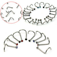 10pcs Stainless Steel Twist Screw Nose Nostril Rings Bar Studs Piercing Jewelry