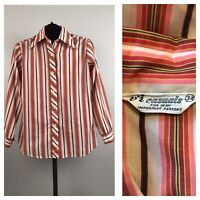 1970s Stripe Blouse / Pink Button Up Shirt Top Long Sleeve / Women's Small