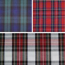 100% Cotton Fabric Flat Weave Tartan Royal Stewart, Black Watch, Dress Stewart
