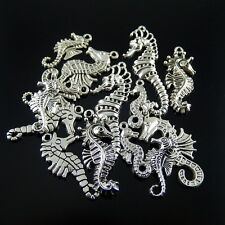 Antique Silver Mixed Seahorse Look Alloy Charms Pendants Craft Jewelry 14x 52187