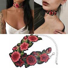 Halskette Damen Halsband Choker Körperkette Blumen Stickerei Collier Bohemian