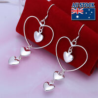 Wholesale Elegant 925 Sterling Silver Filled Lovely Heart Dangle Earrings Party