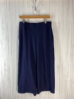 Eileen Fisher Women's Small Navy Blue Slim Crop Pant French Crepe Knit GUC
