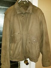 Roundtree Yorke Distressed Leather Bomber Jacket Large Brown Zip Lining
