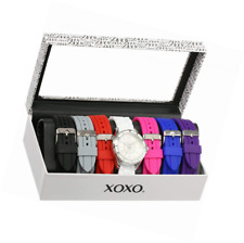 XOXO Women's Analog Watch with Silver-Tone Case, White Dial, 7 Interchangeable B