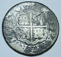 1740 Spanish Silver 1 Reales Piece of 8 Real Colonial Era Pirate Treasure Coin