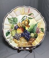 Vintage Signed Hand Painted Italy Fruit Basket Plate Serving Wall Dish A. Stocco