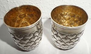 2 alte wunderschöne Herz Becher 800er Silber Innenvergoldung Herzbecher