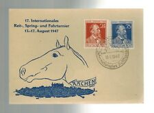 1947 Aachen Germany Horse Moor & Jumping Tournament Illusrated Postcard Cover