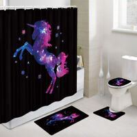 Unicorn silhouette Shower Curtain Toilet Cover Rugs Bath Mat Contour Rug Set