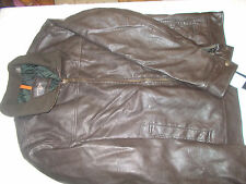 Dockers Premium Leather Look Finish Jacket - Mens Size S - Dark Brown