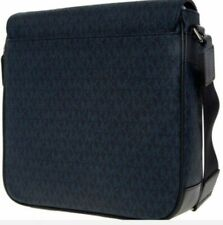 MICHAEL KORS Jet Set Mens Messenger Bag Medium Printed LOGO Baltic Blue RRP £275