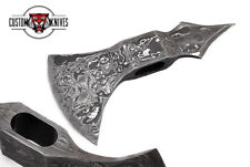 CUSTOM HAND FORGED DAMASCUS STEEL TOMAHAWK AXE HEAD WITH LEATHER SHEATH