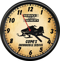 Personalized Snowmobile Sled Racing Vintage Service Sales Repair Sign Wall Clock