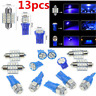 13X Blue LED Bulbs Car Interior T10 31mm Map Dome License Plate Light Lamp New