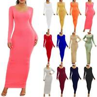 Women Solid Long Sleeve Round Neck Dress Slim Bodycon Party Maxi Pencil Dress XL