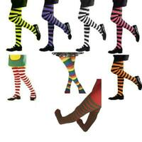 Striped Tights Stockings Full Length Footed Pantyhose Cosplay Halloween New