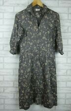 LEONA EDMISTON FROCKS Dress Sz 1 Grey, pink floral print Shirt dress