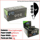 OCB Premium Fina Papel de liar ROLLOS 44mm Ancha - 3/6/12 & 24 Rollos Caja Llena