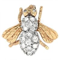 BROOCH 14K Yellow Gold Bee Pin with Diamonds - Estate Jewelry