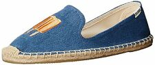 Soludos Smoking Slipper Women Round Toe Canvas Blue Popsicles Embroidery Flat