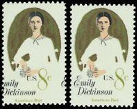 1436, Mint NH 8¢ Emily Dickinson Color Shift ERROR With Normal - Stuart Katz