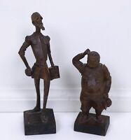 Ouro Artesania # 605-1 & 702 Don Quixote Sancho Panza Made in Spain Wood Figure