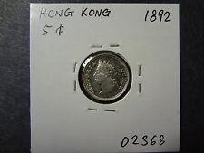 HONG KONG 1892 QV SILVER FIVE 5 CENTS , LUSTROUS GEM UNC ! GORGEOUS COIN !