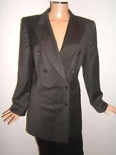 ESCADA 42 12 Luxury Charcoal Gray Wool Double Sexy Designer Womens Jacket Blazer