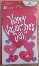 Valentines Day Cards for kids Carton Cards 6 in a package Heart Red NIP