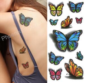x 10 Butterfly Tattoos Temporary Waterproof Body Art Sheet Stickers Fake Ladies