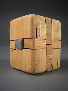 FOLK ART Hand Made WOODEN Box or Mechanical PUZZLE Whimsey