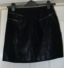 New Look Size 10 Leather Look Black Skirt