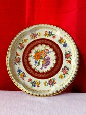 Vintage Daher Metal Tin Plate Made In England Round Plate Platter Floral