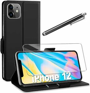 COVER per Iphone 12 Pro Max Mini CUSTODIA PORTAFOGLIO PELLE + Vetro Temperato