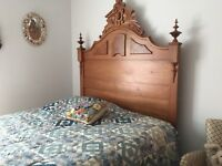 Beautiful antique victorian walnut and burl bed and dresser in good condition.